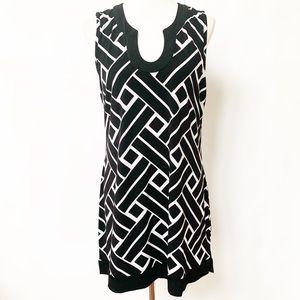 WHBM Black & White Geometric Print Tunic Dress